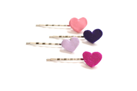 Heart Bobby Pins, Set of 4 Pins