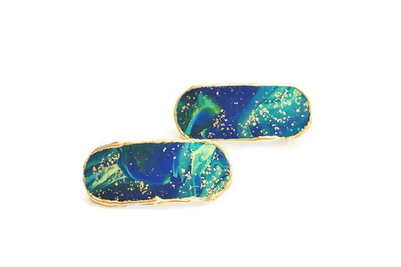 Blue Green Hair Barrettes, Small Celestial Hair Clips