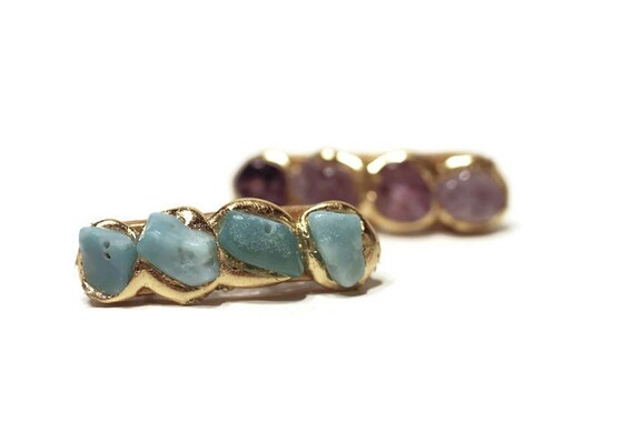 Aqua Blue Quartz Natural Stone Mini Hair Clip, Barrettes with Semi Precious Stones, Jewelry for Your Hair