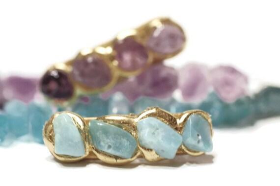 Aqua Blue Quartz Natural Stone Mini Hair Clip, Barrettes with Semi Precious Stones, Jewelry for Your Hair