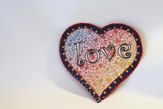 Applique, Patch, Hippie Boho Flower Power Heart Patch, Personalized Hand Embroidered, Painted Decorative Accessory for Jeans, t shirts, bags