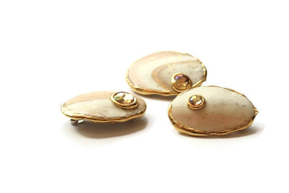 Ivory Sand Small Oval Hair Clips with Crystal Stones, Set of Three Hair Barrettes in Natural Colors