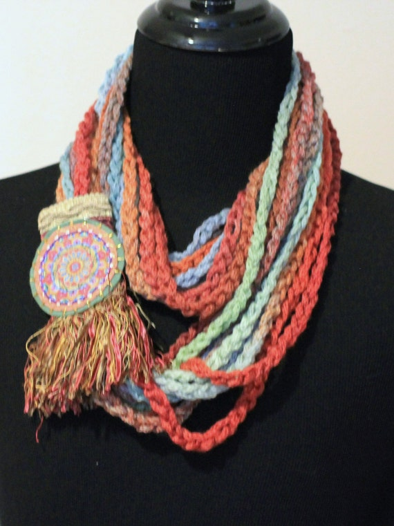 Loop Scarf, Circle Infinity Scarf, Circle Scarf with Bohemian Accents, Earth Colors, Silk FringeTwist Scarf Crochet from Fine Italian Fibers