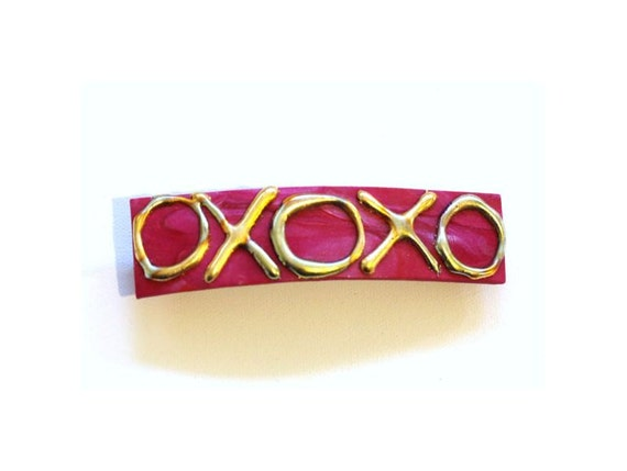 Hugs and Kisses Large Barrette, Hair Clip for Thick Hair, Valentines Day Hair Accessory