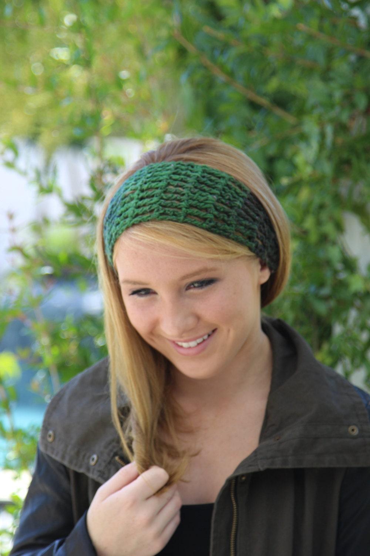 Crochet Head Band Green Headband Hair Wrap Long Hair Band Short