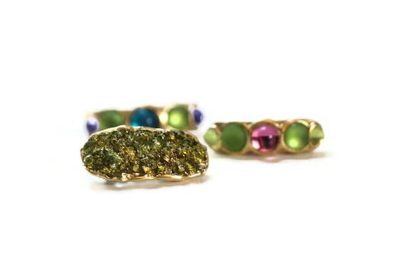 Green Druze Clip, Faux Druse Clip, Gemstone Hair Clips, Druzy Barrette, Moss Green Hair Clip, Small Hair Clip, Sparkly Barrette, Formal Clip