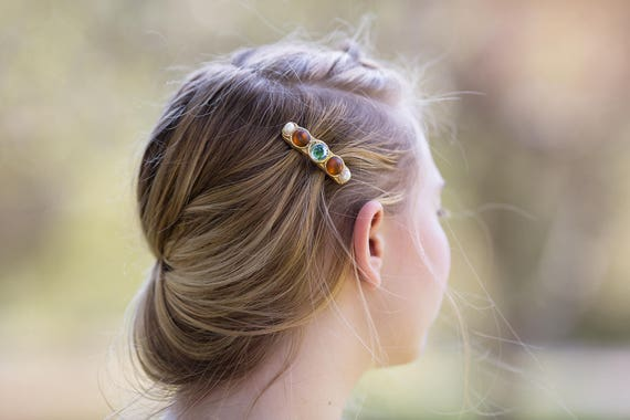Jeweled Mini Hair Clip / Blue and Topaz