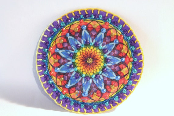 Embroidered Applique Patch Clothing Decoration Hippie Boho Mandala Hand Embroidered, Painted Decorative Accessory for Jeans, t shirts, bags