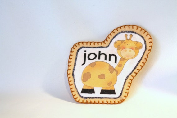 Giraffe Applique with Monogram or Name, Personalized Name Applique for Kids