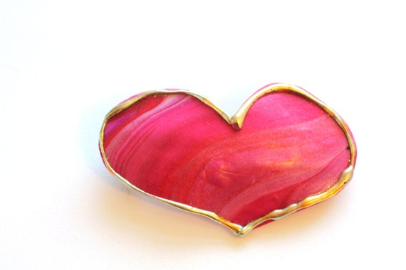 Large Ruby Red Pink Heart Hair Barrette, Heart Clip for Long Hair, Perfect for Valentines Day