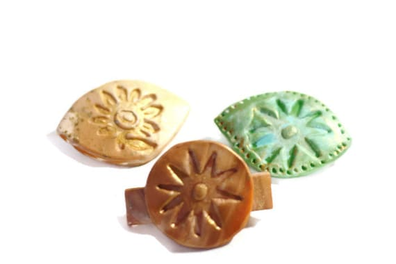 Hair Barrettes, Hair Clips Hair Accessories Summer Hair Sun Kissed Gold Barrettes, Mini Barrettes, Sea Glass, Gold Embossed, Boho Barrettes