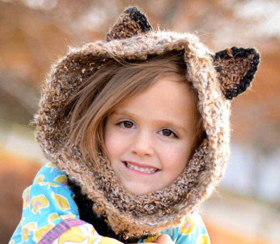 Soft and Cuddly Raccoon Hoodie / Cowl Neck Scarf