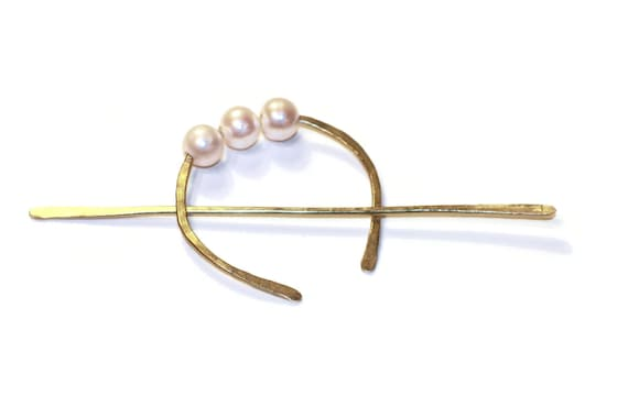 Hammered Brass Half Moon Hair Slide, Hair Slide with Freshwater Pearls, Hair Slide Hair Barrette