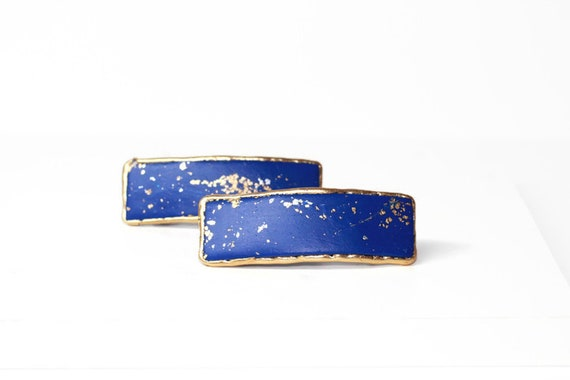 Midnight Blue Small Hair Barrettes for Fine Hair, Small Hair Clips for Short or Long Hair