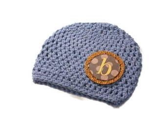 Boys Hat, Personalized Baby Hat, Baby Beanie, Initials, Monogram, Baby Gift, Photo Prop, Cotton Crochet Hat, Winter Hat, Kids Accessory, Hat