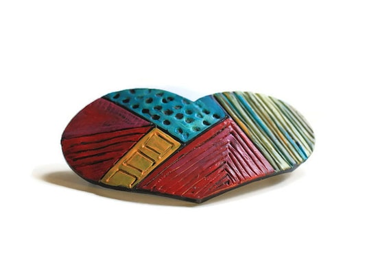 Large Patchwork Heart Barrette, Gypsy Heart Hair Clip, Colorful Boho Heart Hair Clip