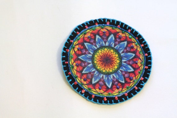 Applique Patch Hippie Boho Mandala Applique Patch, Personalized Hand Embroidered, Painted Decorative Accessory for Jeans, t shirts, bags