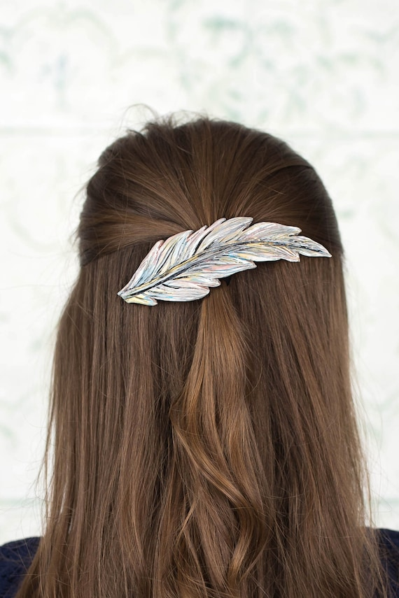 Silvery Feather Clip, Hair Clip Barette
