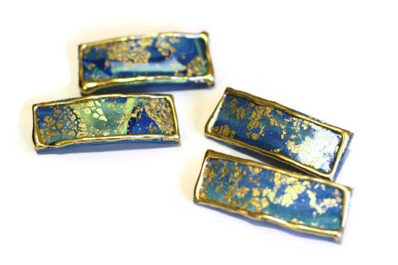 Mini Blue Green Gold Hair Clips, Small Clips for Hair