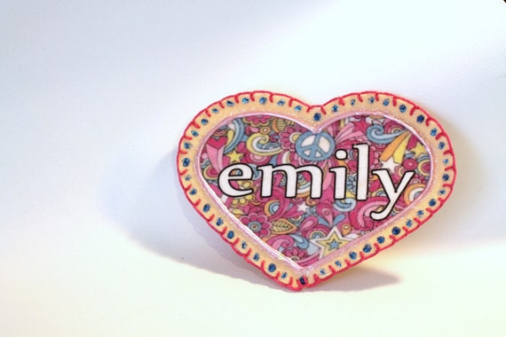 Back to School, Heart Applique Patch, Personalized Hand Embroidered, Painted Decorative Accessory for Jeans, t shirts, bags