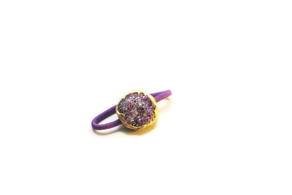 Hair Accessory for Ponytails, Faux Druzy Hair Tie, Bun Wrap Jewelry, Amethyst Druzy Pony Tail Wrap, Womens Hair Tie, Hair Ties for Girls