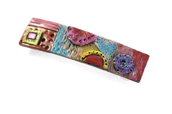 Barrette, Hair clip, Hand Painted Barrette, Polymer Clay and Paint Rub-Off Etched Hair Clip