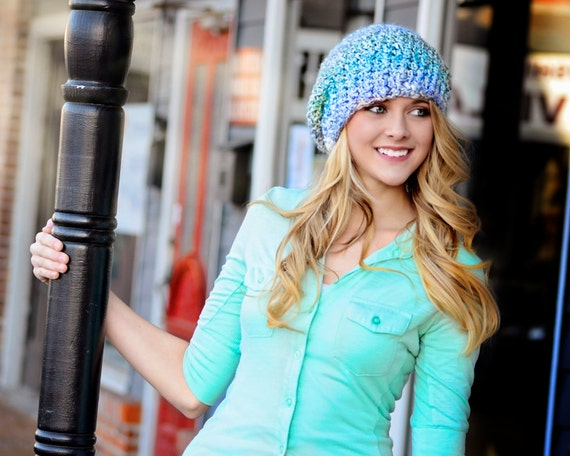 Super Silky Turquoise Blue Slouch Hat with Jumbo PomPom