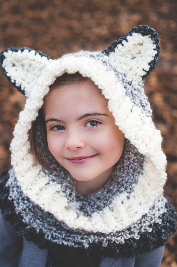 Silver Gray Wolf Hood, Super Soft, Warm and Cushy Crochet Animal Hood