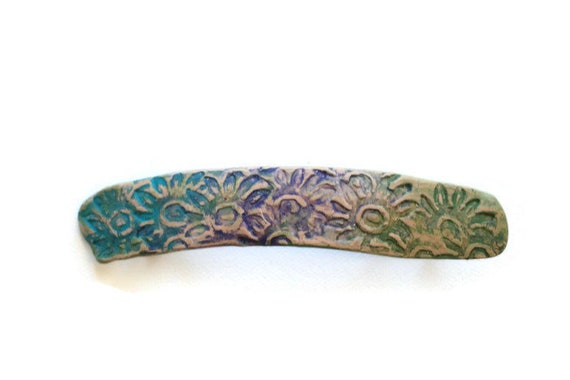 Floral Hair Clip Barrette, Hand Painted Distressed Barrette for Long Hair, Large Hair Clip for Women