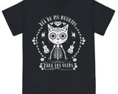 CATS 39 DAY of the DEAD Unisex Cat Tee Shirt Black