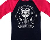 CATS 39 DAY of the DEAD Unisex Baseball Tee Cat Tee Shirt Black with Red Sleeves