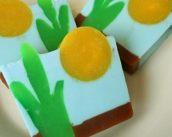 Cactus & Sea Salt Soap, Cactus Soap, Rustic Soap, Homemade Soap, Glycerin Soap, Handmade Soap, Vegan Soap, Soap