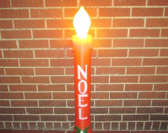 lighted noel christmas candle yard display lawn decoration with electric cord and light 3 candles available