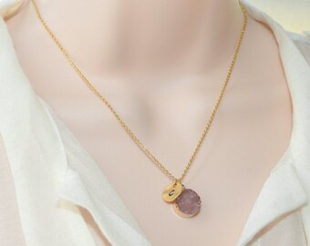 Light Amethyst Druzy Necklace, Gold Jewelry, Personalized Jewelry, Gold Necklace