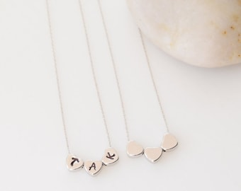Three Little Hearts Necklace, Silver Jewelry, Personalized Jewelry, Silver Necklace