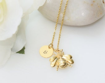 Gold Bumblebee Necklace, Personalized Gold Necklace, Gold Jewelry