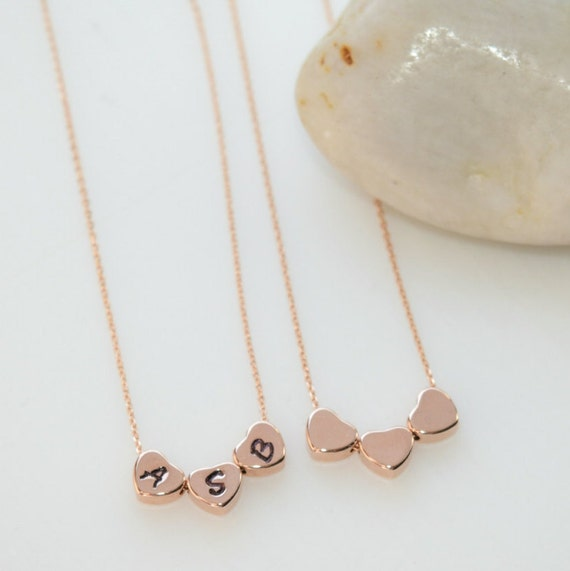Three Little Hearts Necklace Rose Gold Jewelry Personalized Etsy