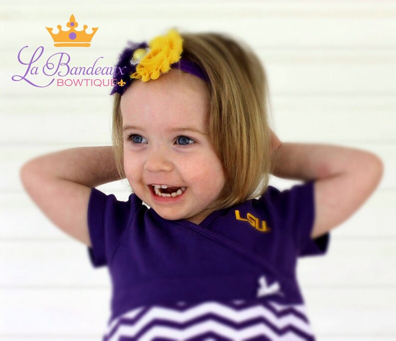 Photo Prop LSU Shabby Chic Purple and Gold Headband Infant Headband Toddler Headband Girl/'s Headband