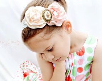 Vintage Inspired Ivory Cream and Peach Satin Flower and Cameo Headband, Infant Headband, Photo Prop, Girl's Headband