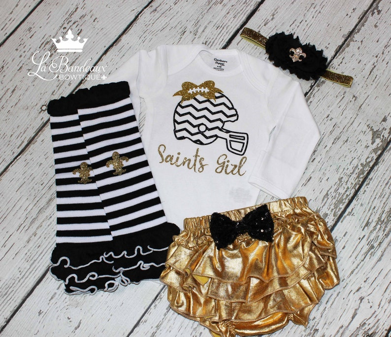 huge selection of 81adc 115ba Baby Girl New Orleans Saints Outfit/Matching Legwarmers/Ruffle Bloomer/  Headband/Saints Girl/Girls Saints Football Outfit