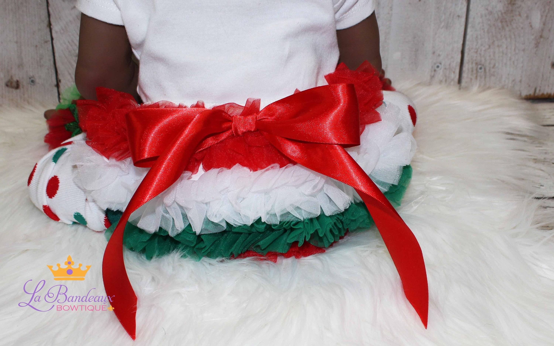 1eae6d6bbadb Chiffon Ruffle Christmas Bloomers Red-Green-White Christmas
