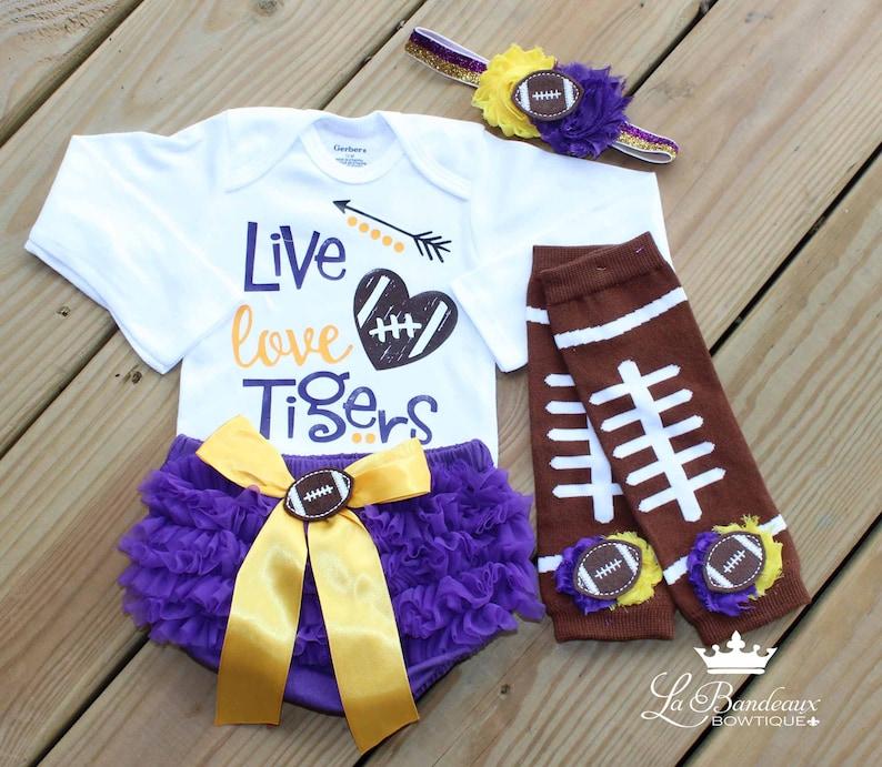 6a04497e9 4PC Live Love Tigers Football Onesie Set Football Leg