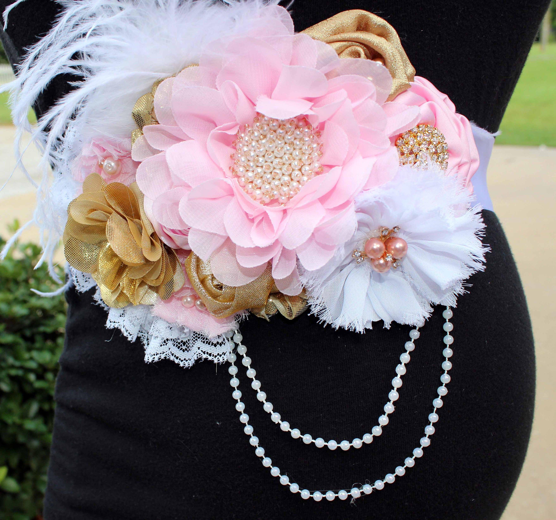 41dab5dc1 Bebé rosado blanco. Cinturón de maternidad de flor de oro