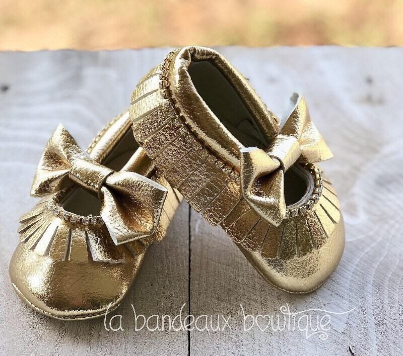 Gold Crystal Rhinestone Baby Moccasins
