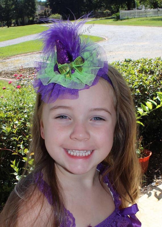 Purple /& Black Witch/'s Hat Halloween Newborn Headband Baby Girl Hair Bow Hairbow