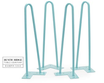 """16"""" Hairpin Legs  (Teal) 1/2"""" Thick (Set of 4) Comes with Screws and Flooring Protectors"""