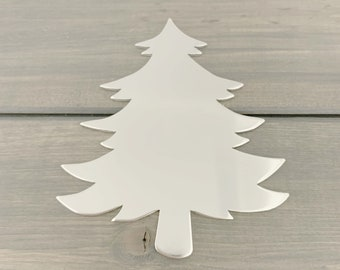 FIVE - Christmas Tree Ornament Stamping Blank - 14 Gauge Aluminum Silver Tree - Jewelry Hand Stamping Blanks