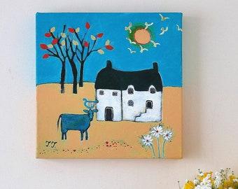 Folk Art Painting, Autumnal Landscape, Naive Painting, Cow Animal Artwork, Primitive Art, Countryside, Rustic, Cottage, Farmhouse