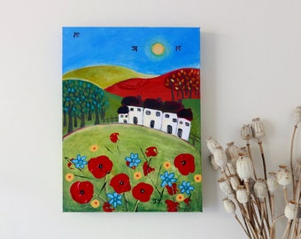 Poppy Painting, Cottage Countryside, Summer Meadow Landscape, Farmhouse Decor, Housewarming Gift