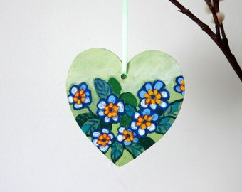 Painted Heart Decoration, Hanging Easter Decoration, Mother's Day Gift, Primrose Flower Painting